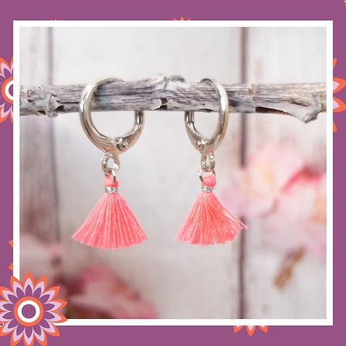 Silver Coloured Hoop Earrings with Neon Pink Tassels