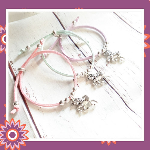 Children's Suede Cord Bracelet with Silver Unicorn Charm