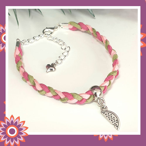 Suede and Silver Watermelon Bracelet