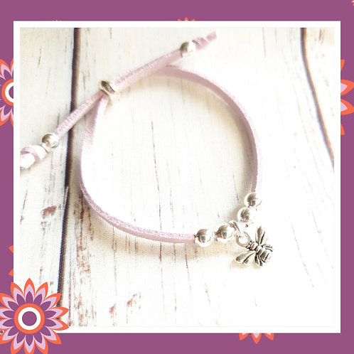 Children's Suede Cord Bracelet with Silver Bee Charm