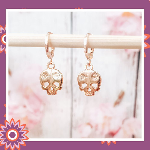 Rose Gold Sugar Skull Hoop Earrings
