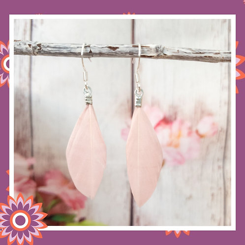 Real Goose Feather Earrings -Vintage Rose Pink