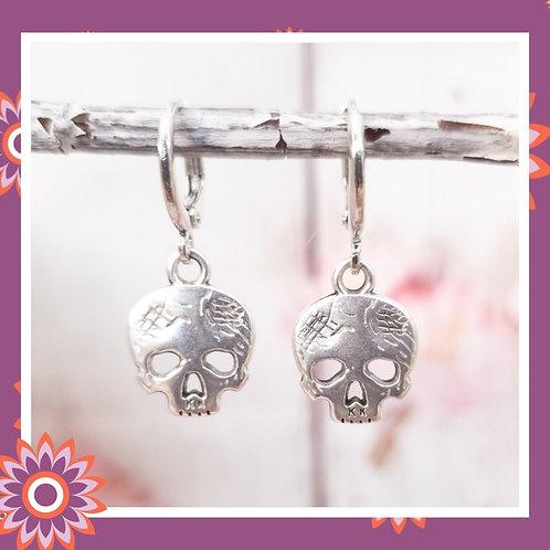 Silver Coloured Sugar Skull Hoop Earrings