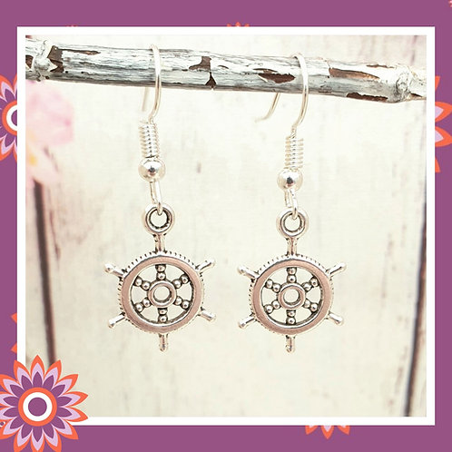 Ships Wheel Nautical Earrings