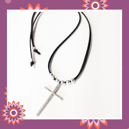 Black Suede Necklace with Cross Pendant