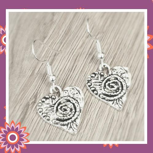 Embossed Heart Earrings