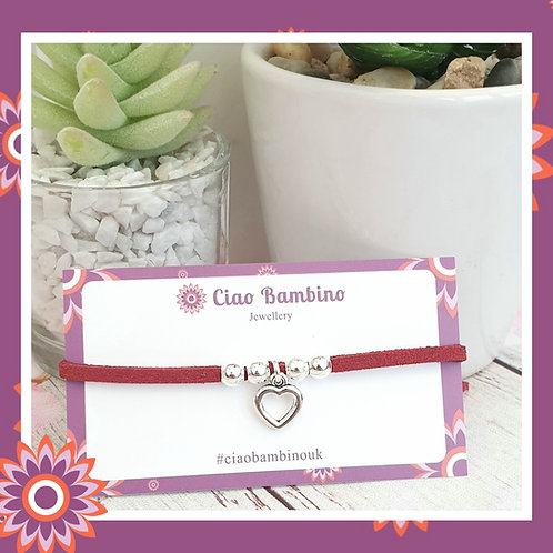 Red Faux Suede Bracelet with Valentines Heart Charm