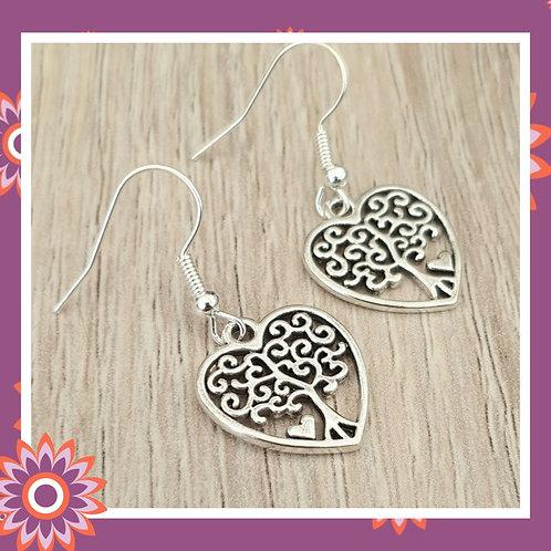 Tree of Life Heart Earrings