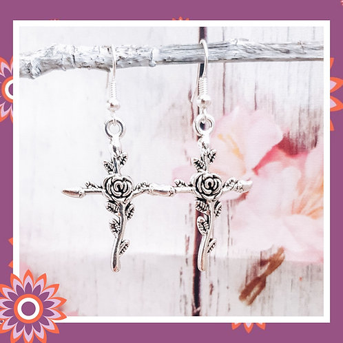 Cross Earrings with Rose Detail