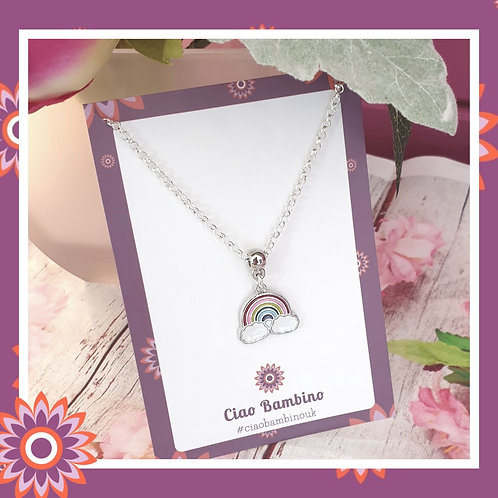 Childs Rainbow Necklace - Silver Plated Chain