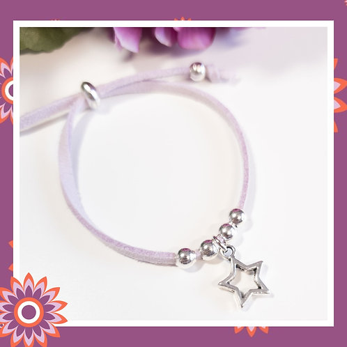 Children's Suede Cord Bracelet with Silver Star Charm