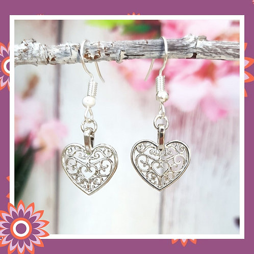 Pretty Filigree Heart Earrings