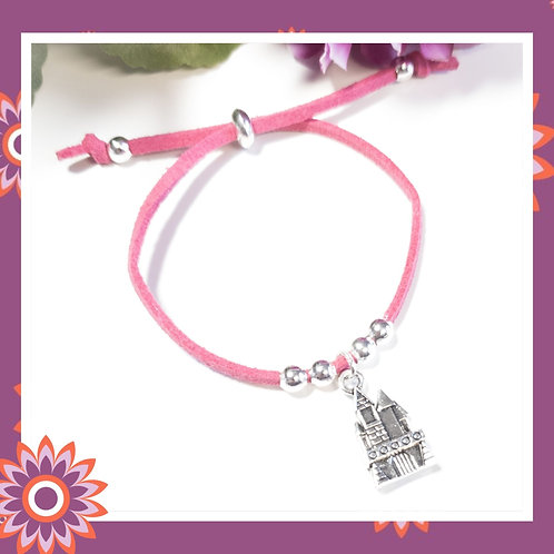 Childrens' Pink Suede Cord Bracelet with Princess Castle Charm