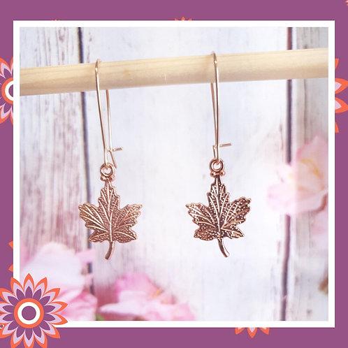 Rose Gold Coloured Maple Leaf Earrings