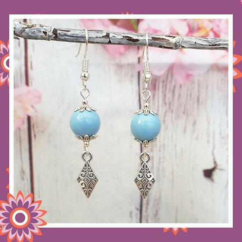 Vintage Style Filigree Diamond Earrings - Blue