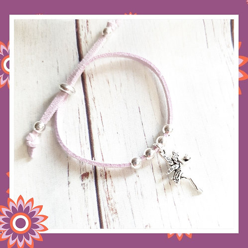 Children's Suede Cord Bracelet with Silver Fairy Charm