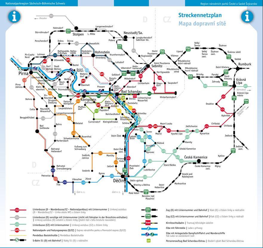 mapa dopravy české švýcarsko