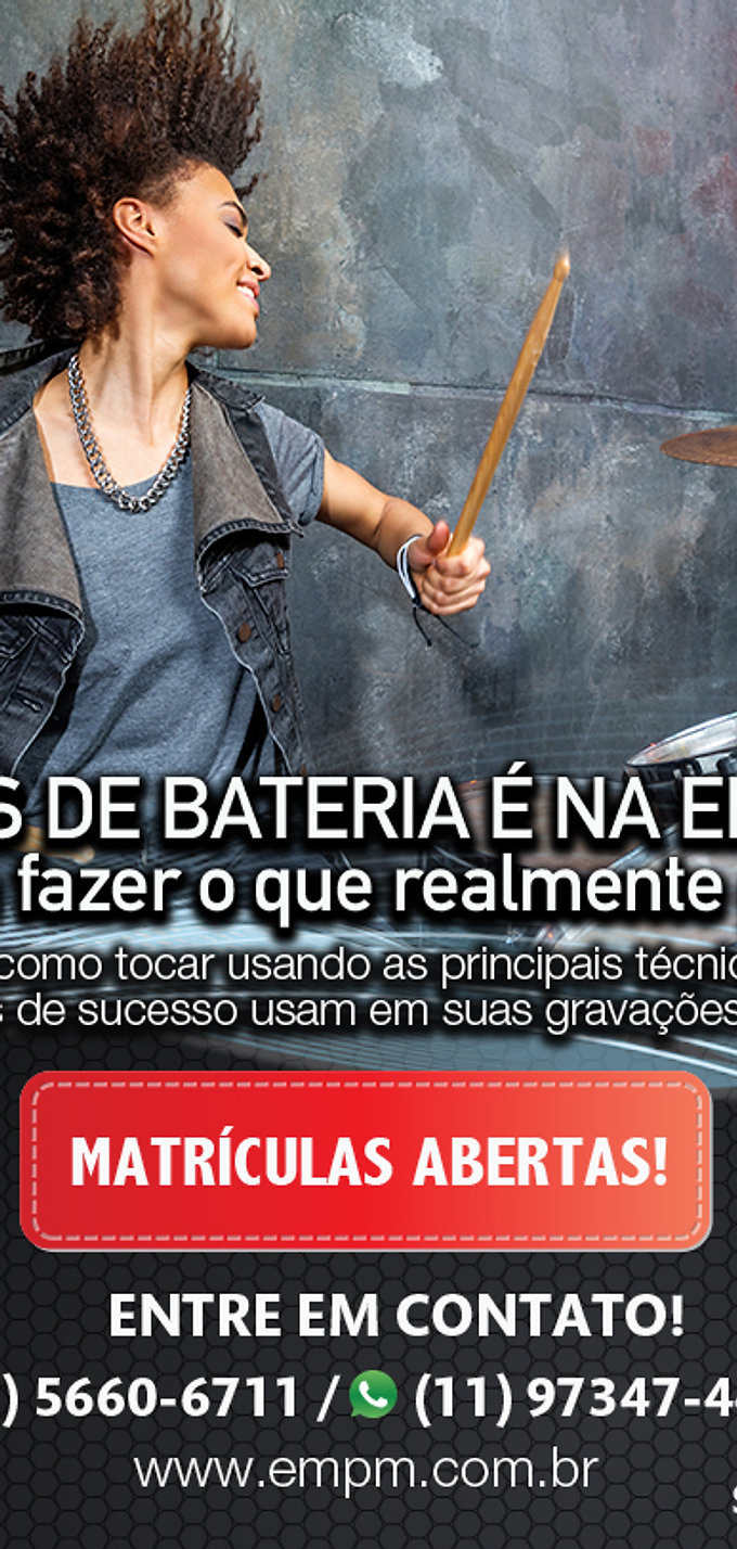 Curso de Bateria  EMPM - Escola de Música Aulas Presenciais e Ao Vivo Online