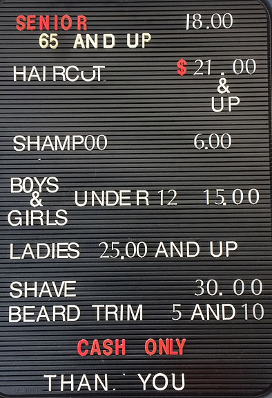 Services Pricing and Policy Menu at Mario's Barbershop in Park Ridge