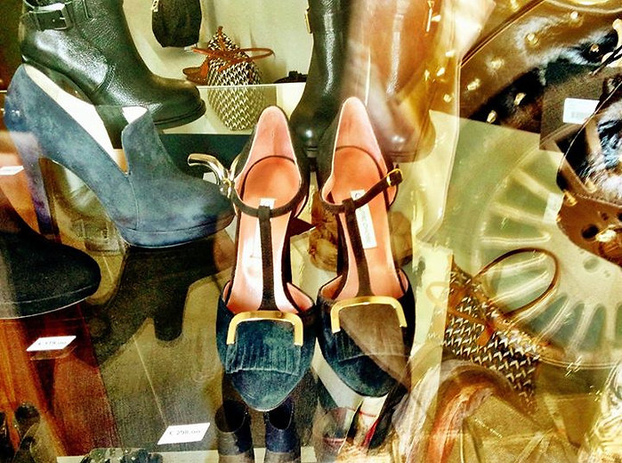 Shoes in an Italian shoe store in Tuscany.
