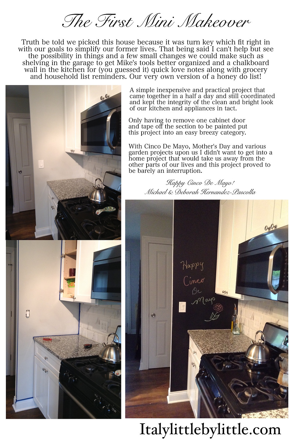 The First Mini Makeover - Simple DIY Project:  Adding a Chalkboard Wall to the Kitchen