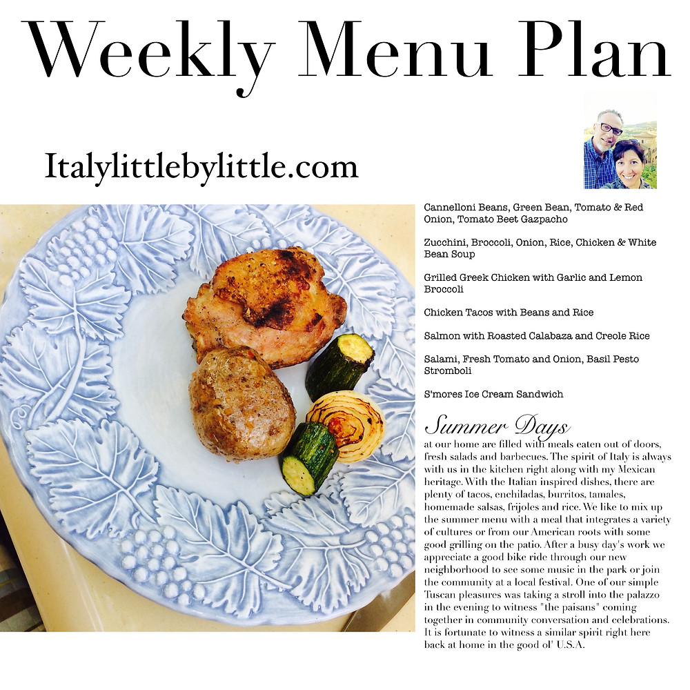 Weekly menu planning for Summer days