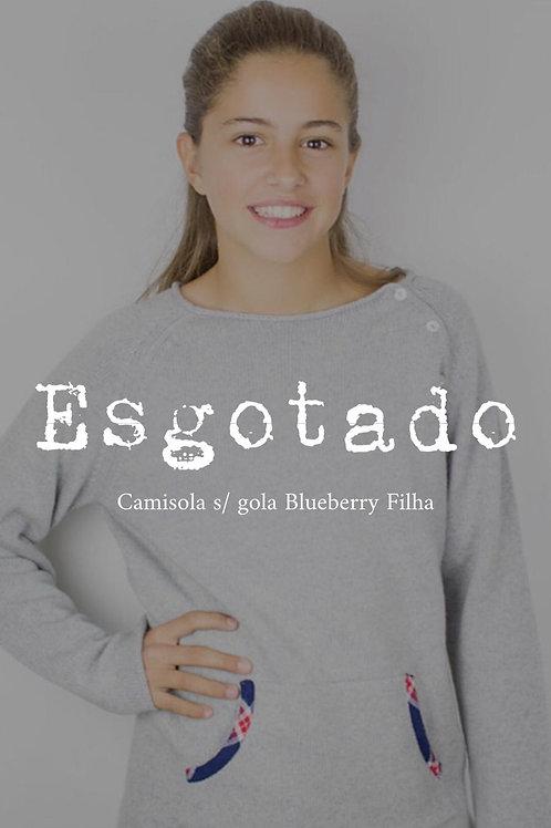 Camisola Lã com Caxemira s/ Gola Blueberry