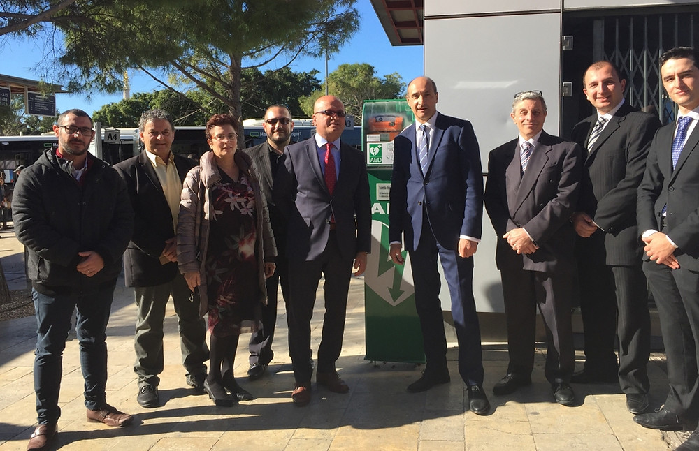 The Valletta AEDs were inaugurated by the Hon Mr Chris Fearne, Deputy Prime Minister, and Hon Dr Deo Debattista, Parliamentary Secretary for V18, in the presence of Prof Simon Attard Montalto, Chairman MRC, and Dr Samuel Attard, Chairman, MHF