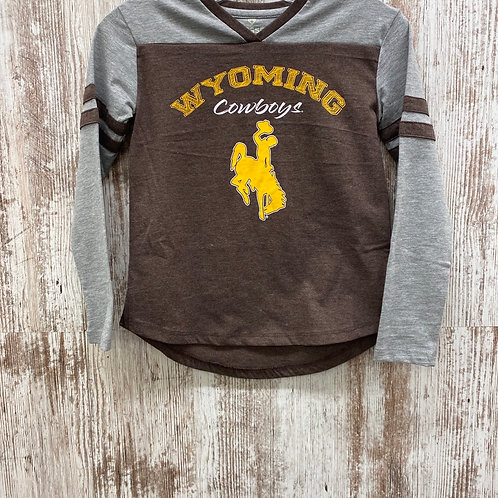 Colosseum Girls Wyoming Cowboys Long Sleeve Tee Shirt