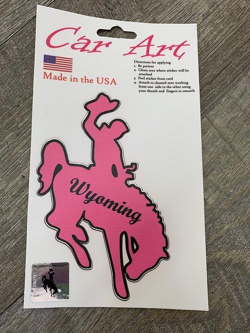 Pink Wyoming Bucking Horse Decal