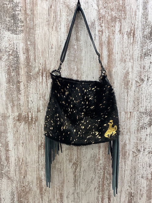Black Shimmer Leather and Hairon Bag