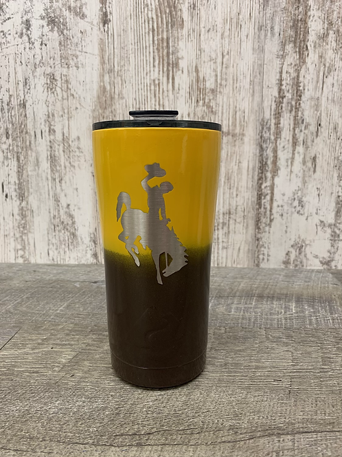 Brown and Gold Wyoming Travel Mug