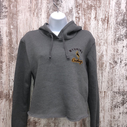 Blue 84 Women's Wyoming Cowboys V Neck Crop Hoodie