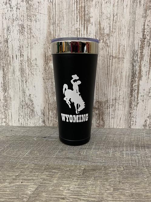 Wyoming Travel Mug With Bucking Horse