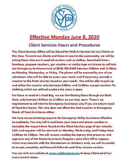 Client Services Hours and Procedures 06-