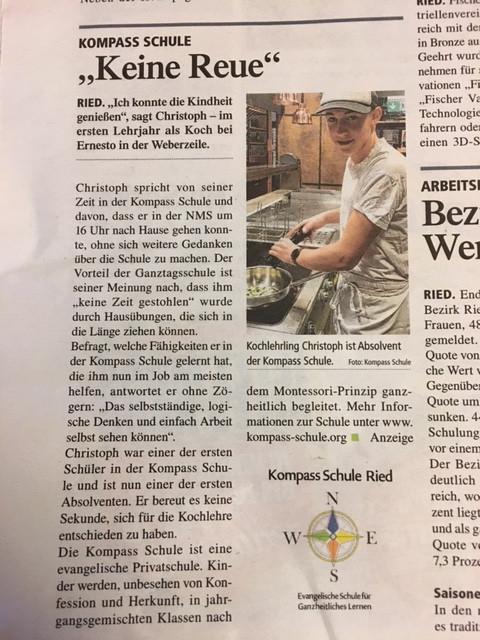 Kochlehrling Christoph ist Absolvent der Kompass Schule