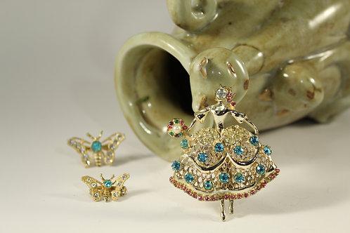 Vintage, Ballerina Dancer, Goldtone, Rhinestones, Brooch Pin, Jewelry 87