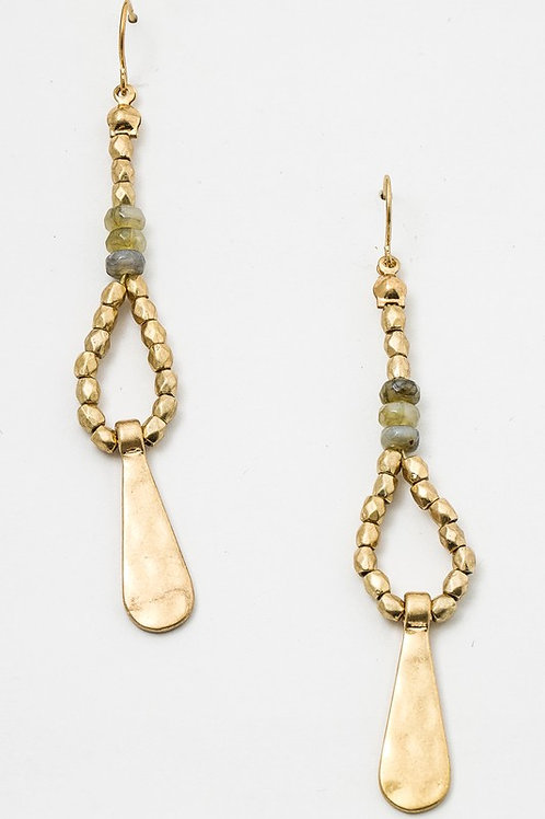 Dangling Beaded Boho Hammered Earrings
