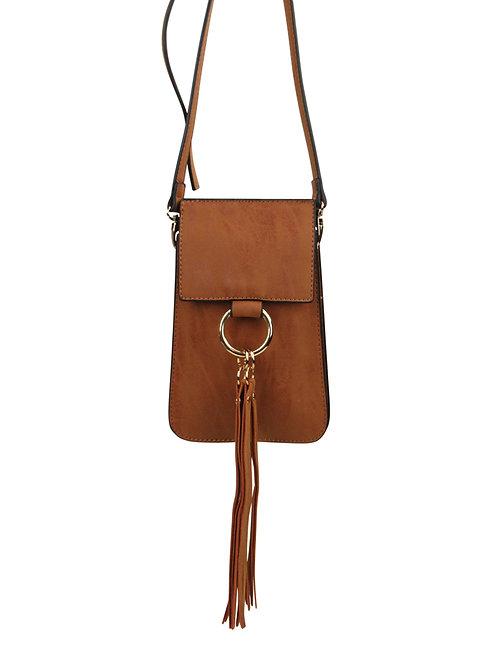 Cell Phone Fringe Tassel Cross Body Bag Brown Color