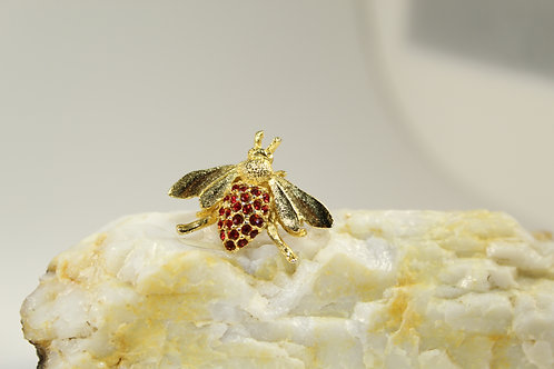Vintage, Gold Plated Bee with Red Stone Body, Jewelry 2