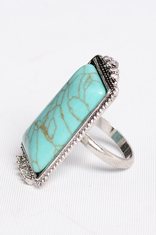 Vintage Style Rectangle Turquoise Adjustable Stone Ring