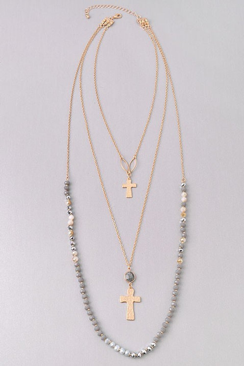 """3 Multi Chain Necklace Hammered Cross Beaded Gray Gold Tone Chain 16"""""""