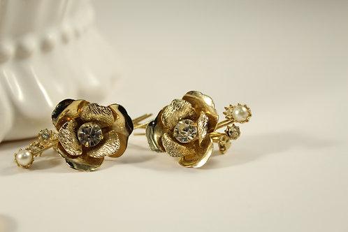 Vintage, Goldtone, Rhinestone, Pearl Small Pins Jewelry 68
