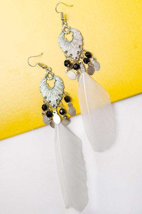 BoHo Silver Tone Beaded Feather Drop Earrings