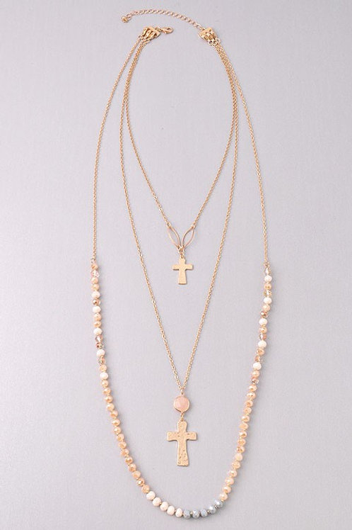 """3 Multi Chain Necklace Hammered Cross Beaded Peach Gold Tone 16"""""""