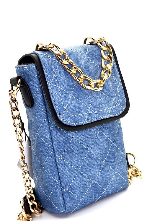 OFF 25% OFF-Chain Accent Quilted Denim Cellphone Holder Faux Leather Denim