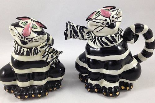 """Clancey Cat 5"""" Tall Sugar and Creamer's"""