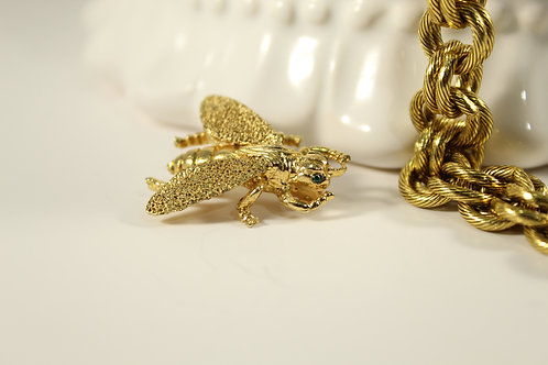 Vintage,  Gold Plated Bee Pin with Emerald Eyes  Jewelry 80