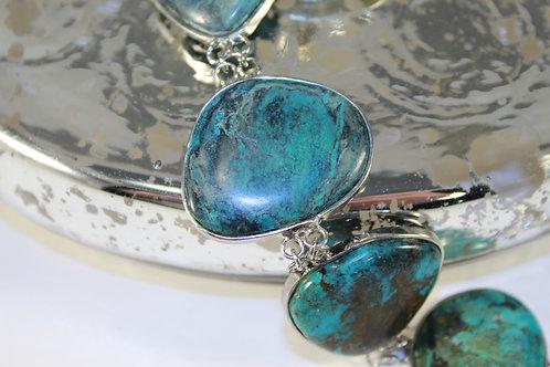 Unique Turquoise Large Stone Turguoise Bracelet Toggle Clasp.