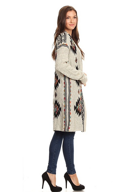 50% OFF - Print Cardigan Thick Knit, Aztec Printed Design,Beige Color